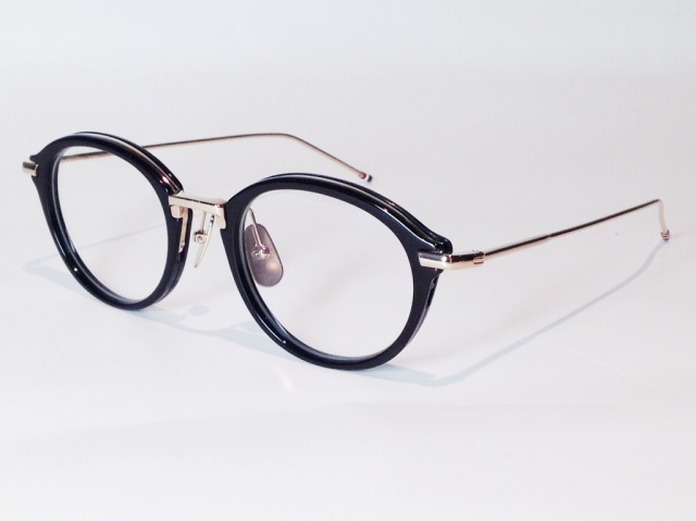 【送料無料】 THOM BROWNE(トム ブラウン) TB-011A-49 ( BLACK/SHINY 12K GOLD BRIDGE & TEMPLES / CLEAR LENS)