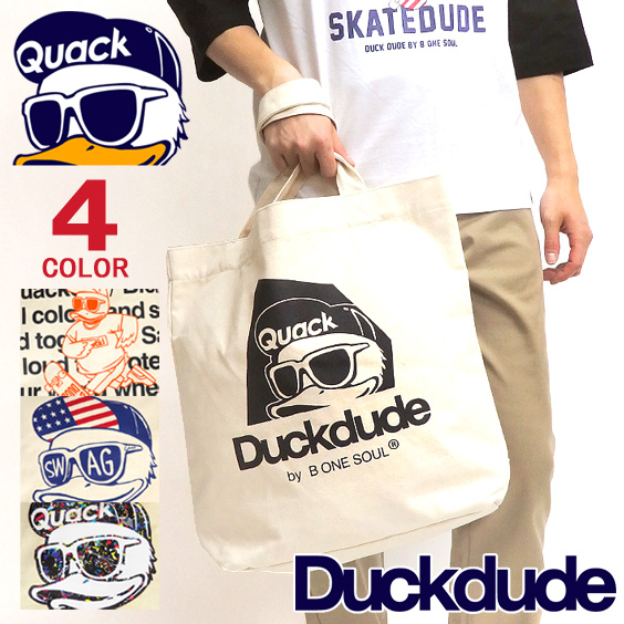 DUCK DUDE バッグ アヒルプリント トートバッグ ダックデュード 大きめトート キャンバス地 鞄 BAG-074