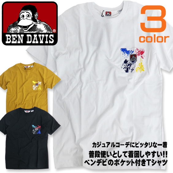BEN DAVIS 半袖Tシャツ ペイント柄ポケット Tシャツ ベンデイビス ポケット付き トップス メンズ BEN-1145
