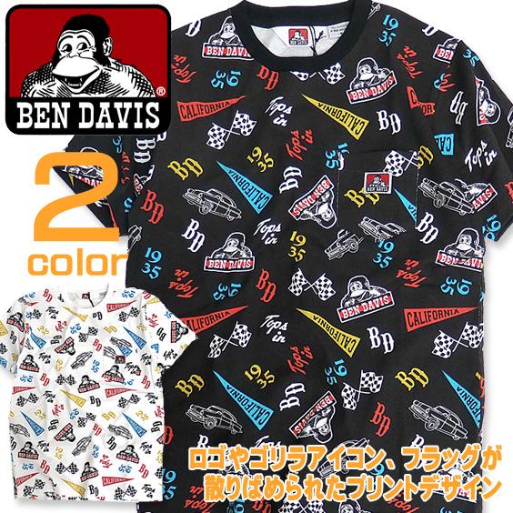 BEN DAVIS Tシャツ 総柄 ポケットTシャツ メンズ 半袖 ベンデイビス 胸ポケット付き トップス BEN-1148