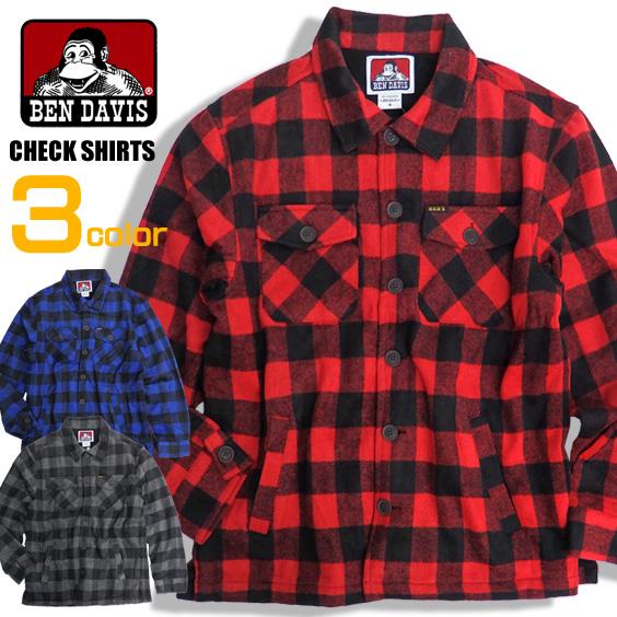 BEN DAVIS シャツジャケット ベンイデビス チェックシャツ バッファローチェックシャツ フリース素材 BEN-1249