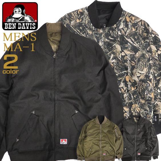 BEN DAVIS MA-1 枯葉総柄 フライトジャケット メンズ ベンデイヴィス ミリタリージャケット BEN-1250