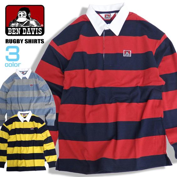 BEN DAVIS ラガーシャツ ボーダー柄 ラグビーシャツ メンズ ポロシャツ ベンデイビス ゴリラマーク BEN-1298
