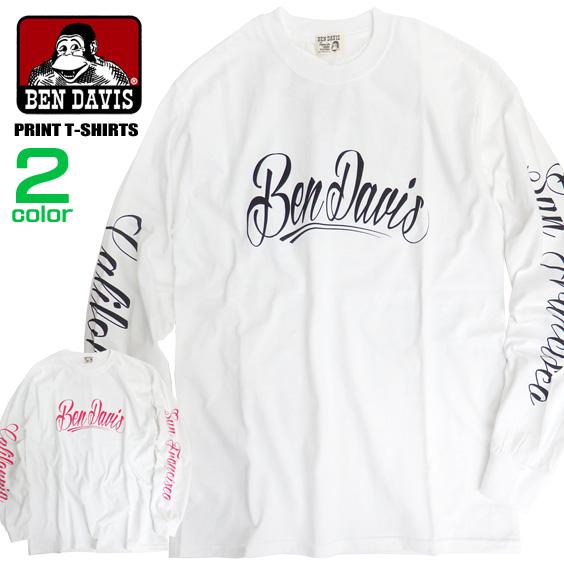 BEN DAVIS Tシャツ ロゴプリント 長袖Tシャツ ベンデイビス メンズ ロンT 袖ロゴ トップス BEN-1319
