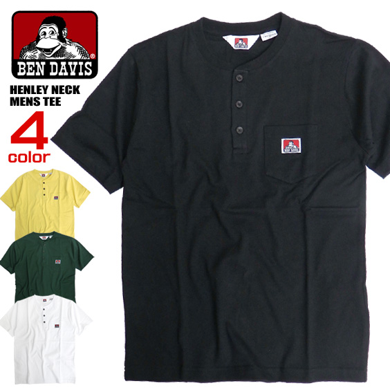 BEN DAVIS Tシャツ ヘンリーネック 半袖Tシャツ メンズ ベンデイビス ゴリラマーク 胸ポケット付き BEN-1324