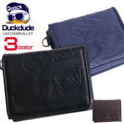 DUCK DUDE 財布 エンボス加工 三つ折り財布 ダックデュード サイフ レザー素材 メンズ レディース ACCE-049