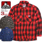 BEN DAVIS ハーフジップシャツ バッファローチェック 長袖シャツ メンズ ベンデービス トップス BEN-1244