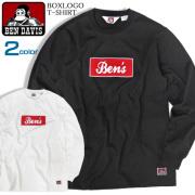 BEN DAVIS Tシャツ ボックスロゴ 長袖Tシャツ メンズ ロンT ベンデイビス フロッキープリント BEN-1287