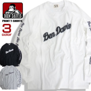 BEN DAVIS Tシャツ ロゴプリント 長袖Tシャツ ベンデイビス ロゴ メンズ ロンT 袖ロゴ トップス BEN-1321