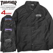 THRASHER ジャケット ロゴ刺繍 コーチジャケット メンズ スラッシャー 刺繍 ライトアウター THRASHER-051