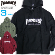 THRASHER パーカー ロゴプリント スウェット STARTER BLACK LABEL ロゴ刺繍 THRASHER-056