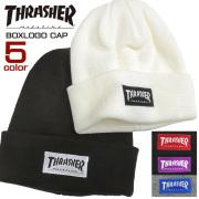 THRASHER ニット帽 ボックスロゴ刺繍 ニットキャップ スラッシャー ビーニー キャップ 帽子 THRASHER-1038