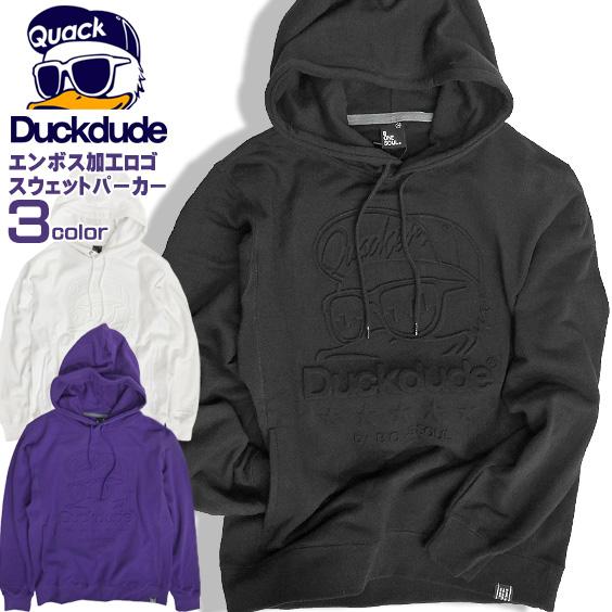 DUCK DUDE パーカー エンボス加工 スウェットパーカー メンズ エンボス ロゴ ダックデュード スエット PKL-326