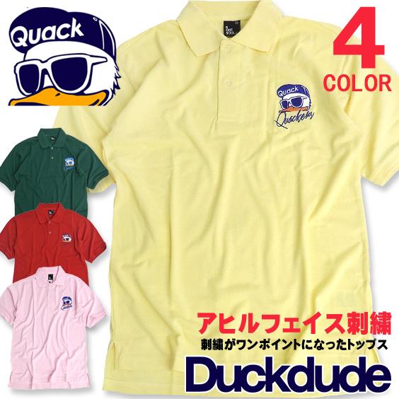 DUCK DUDE ポロシャツ アヒル刺繍 半袖ポロシャツ メンズ ダックデュード トップス ビッグシルエット PO-021