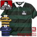 BEN DAVIS ラガーシャツ ブランドロゴプリント 半袖シャツ メンズ ベンデイビス ボーダー トップス BEN-1136