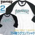 THRASHER Tシャツ ROSE スラシャーロゴ×薔薇 7分袖プリントTシャツ ラグランT メンズ THRASHER-017