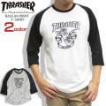 THRASHER Tシャツ スラッシャー 7分袖Tシャツ メンズ ラウンド裾 七分袖 ラグラン THRASHER-043