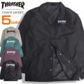 THRASHER ジャケット ロゴ刺繍 コーチジャケット メンズ スラッシャー ロゴ 刺繍 アウター THRASHER-052
