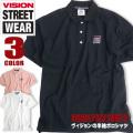 VISION ポロシャツ ロゴ刺繍 半袖ポロシャツ ドロップショルダー メンズ トップス 半袖 刺繍 ロゴ VISION-019