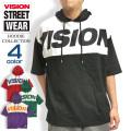 VISION パーカー 切り替え 5分袖パーカー ビッグシルエット メンズ ビジョンストリートウェア VISION-038