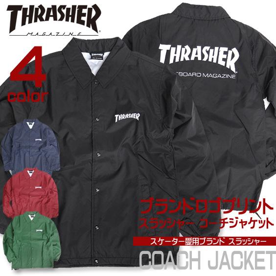 スラッシャー コーチジャケット メンズ THRASHER ナイロンジャケット ブランドロゴ プリント THRASHER-012