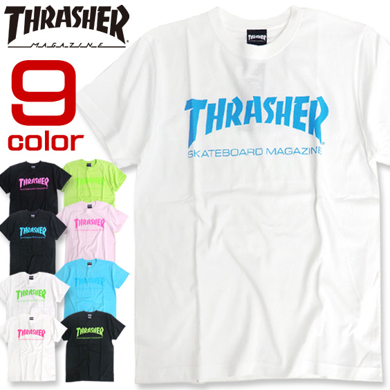 THRASHER Tシャツ 蛍光プリント 半袖Tシャツ スラッシャー ロゴプリント メンズ ストリート THRASHER-032