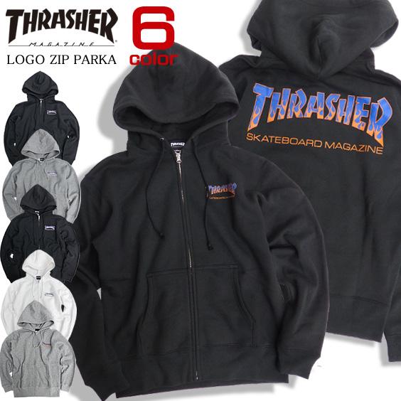 THRASHER パーカー フレームロゴ ジップパーカー スラッシャー スウェットパーカー マグロゴ THRASHER-054