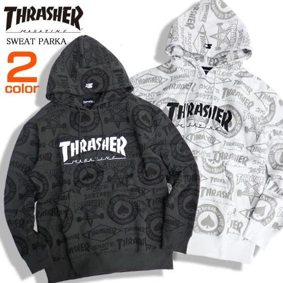 THRASHER パーカー 総柄 スウェットパーカー メンズ スラッシャー ロゴプリント スウェット THRASHER-055