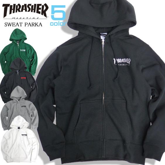 THRASHER パーカー ロゴ刺繍 ジップパーカー メンズ スラッシャー スウェット 裏起毛 THRASHER-061