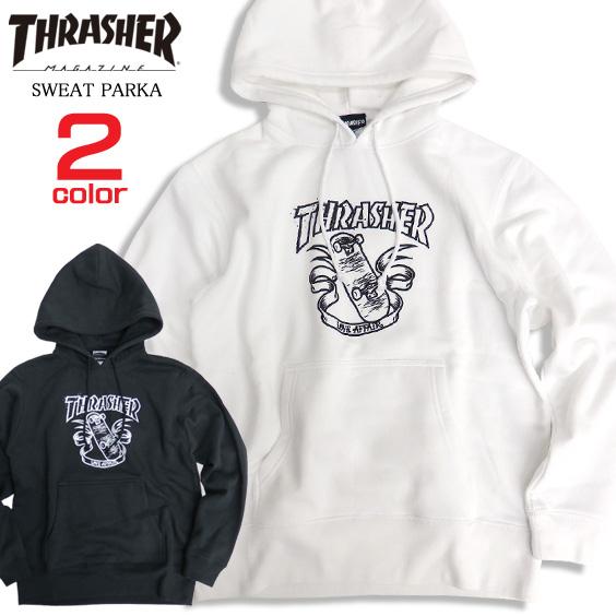 THRASHER パーカー スケボープリント スウェットパーカー メンズ スラッシャー ロゴ プリント THRASHER-062