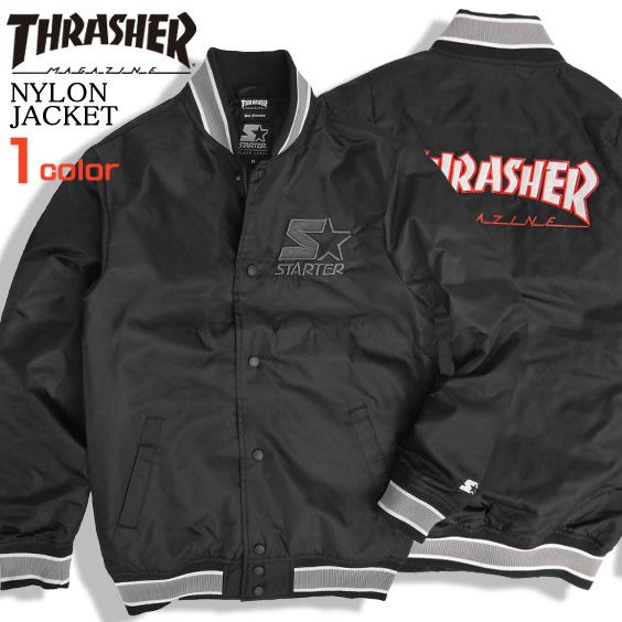 THRASHER ジャケット ロゴ刺繍 スタジアムジャケット メンズ スラッシャー スタジャン THRASHER-071