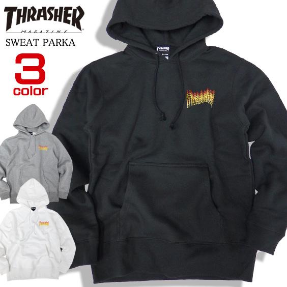 THRASHER パーカー ファイアーロゴ スウェットパーカー メンズ スラッシャー ロゴ スエット THRASHER-074