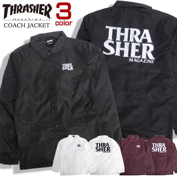 THRASHER ジャケット ロゴ刺繍 コーチジャケット メンズ ナイロンジャケット スラッシャー THRASHER-082
