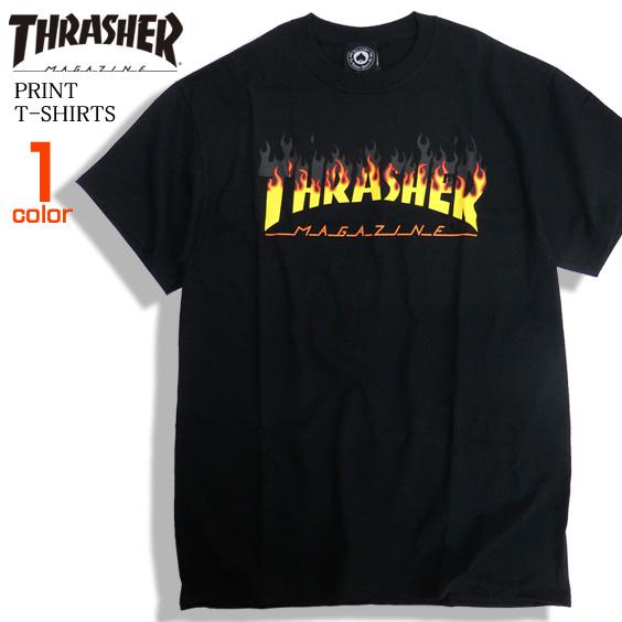 THRASHER Tシャツ フレイムロゴ 半袖Tシャツ メンズ ロゴプリント トップス スラッシャー THRASHER-086