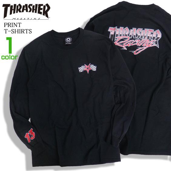 THRASHER Tシャツ レーシングロゴ 長袖Tシャツ メンズ ロンT 長袖トップス ロゴプリント THRASHER-087