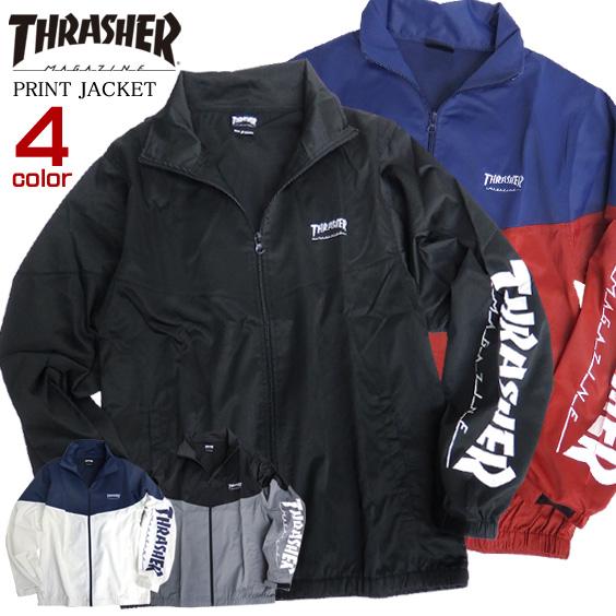 THRASHER ジャケット 袖ロゴ ブルゾン メンズ ライトアウター ロゴ プリント メンズアウター THRASHER-089