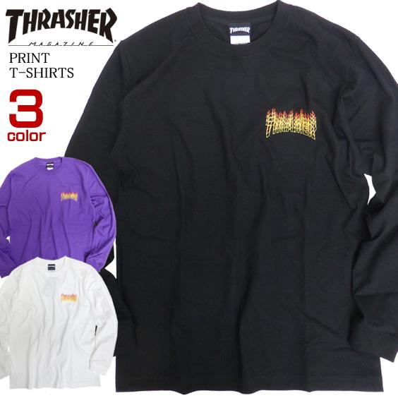 THRASHER Tシャツ ファイアーロゴ 長袖Tシャツ メンズ ロンT 長袖トップス クルーネック THRASHER-093
