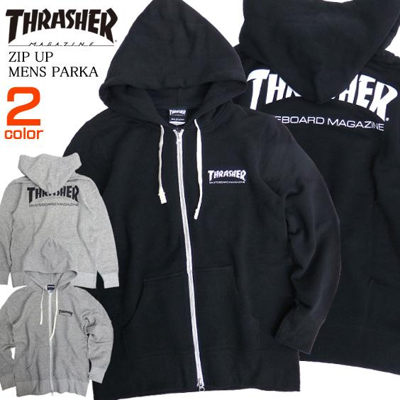 THRASHER パーカー ロゴプリント ジップパーカー スラッシャー スウェット トップス マグロゴ THRASHER-095
