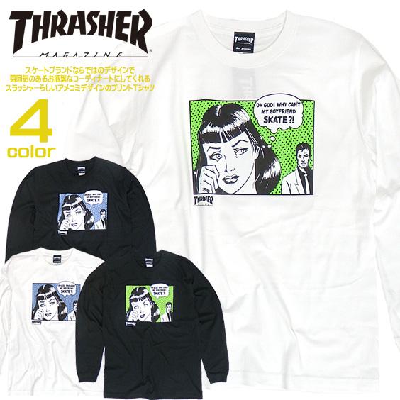 THRASHER Tシャツ ロンT スラッシャー 長袖Tシャツ メンズ プリントT 丸首 thrashermagazine THRASHER-096