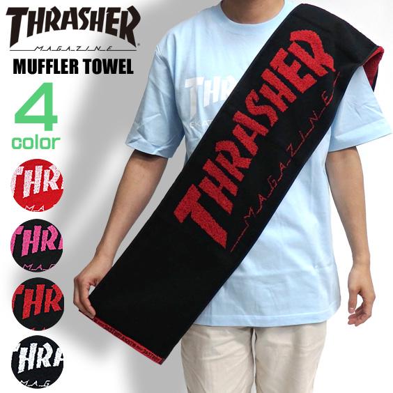 THRASHER タオル スラッシャー マフラータオル 綿素材 ブランドロゴ入り スポーツタオル THRASHER-1026