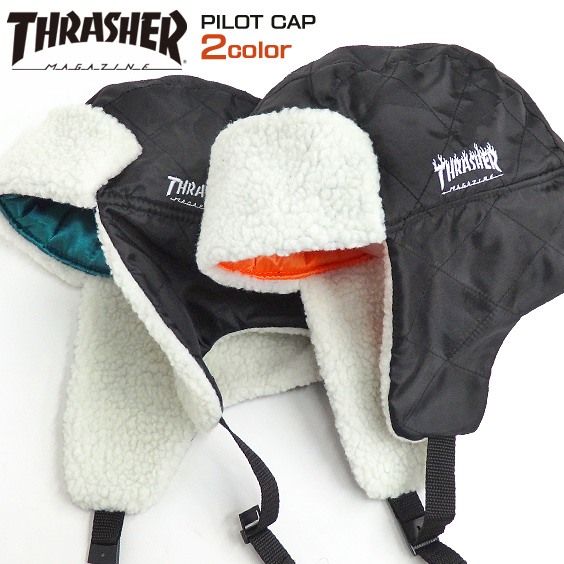 THRASHER フライトキャップ ロゴ刺繍 パイロットキャップ スラッシャー ロゴマーク 帽子 THRASHER-1043
