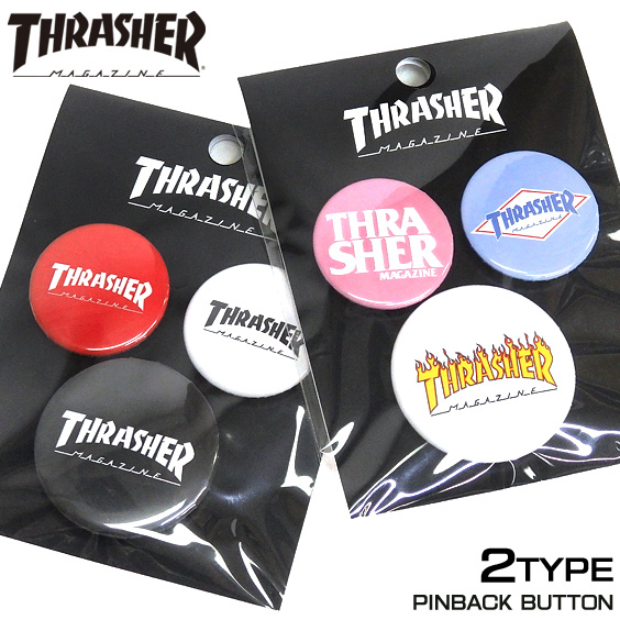 THRASHER 缶バッチ スラッシャー ロゴマーク バッジ 3個セット スラッシャーマガジン 雑貨 THRASHER-1049