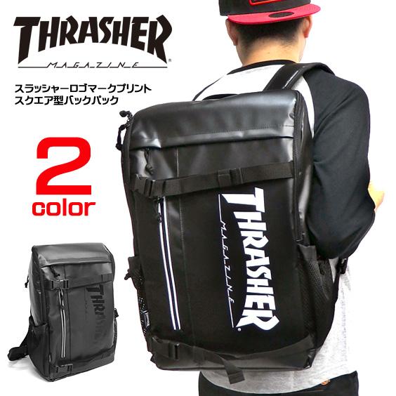 リュック THRASHER ロゴプリント スクエアリュック スラッシャー バックパック THRASHER-THRTP504