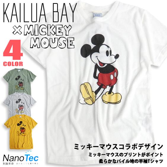 KAILUA BAY Tシャツ ミッキーマウス パイル地Tシャツ 半袖 メンズ カイルアベイ コラボデザイン TSS-299