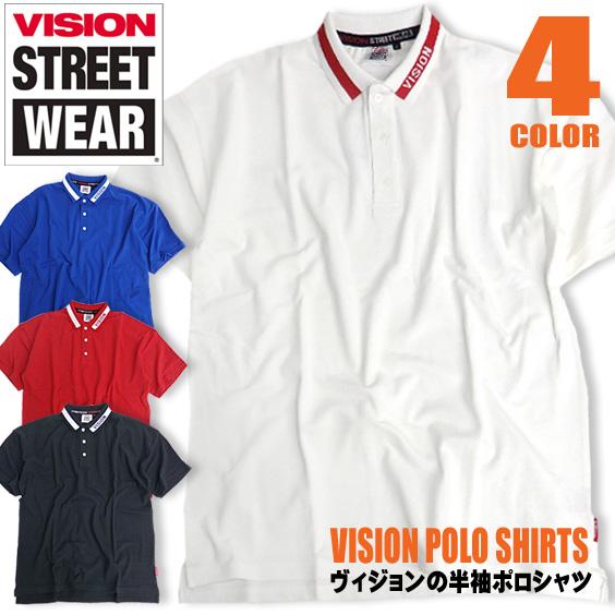 VISION ポロシャツ ロゴ 半袖ポロシャツ ドロップショルダー メンズ トップス 半袖 ヴィジョン VISION-021