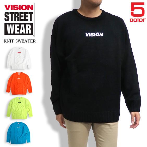 VISION セーター ロゴ刺繍 ニットセーター メンズ トップス ニット ビジョンストリートウェア VISION-067