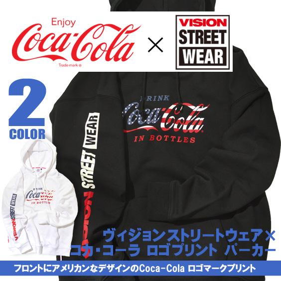 コカ・コーラ パーカー VISION プルオーバーパーカー Coca-Cola ロゴプリント スウェット VISION-119