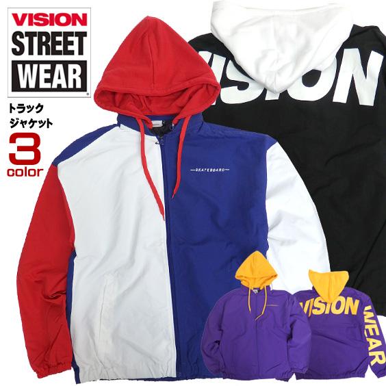 VISION ジャケット ロゴ刺繍 トラックジャケット ヴィジョンストリートウェア ナイロンブルゾン VISION-142