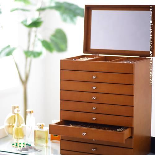 ジュエリーボックス 大容量 木製 〔モルティ〕8段