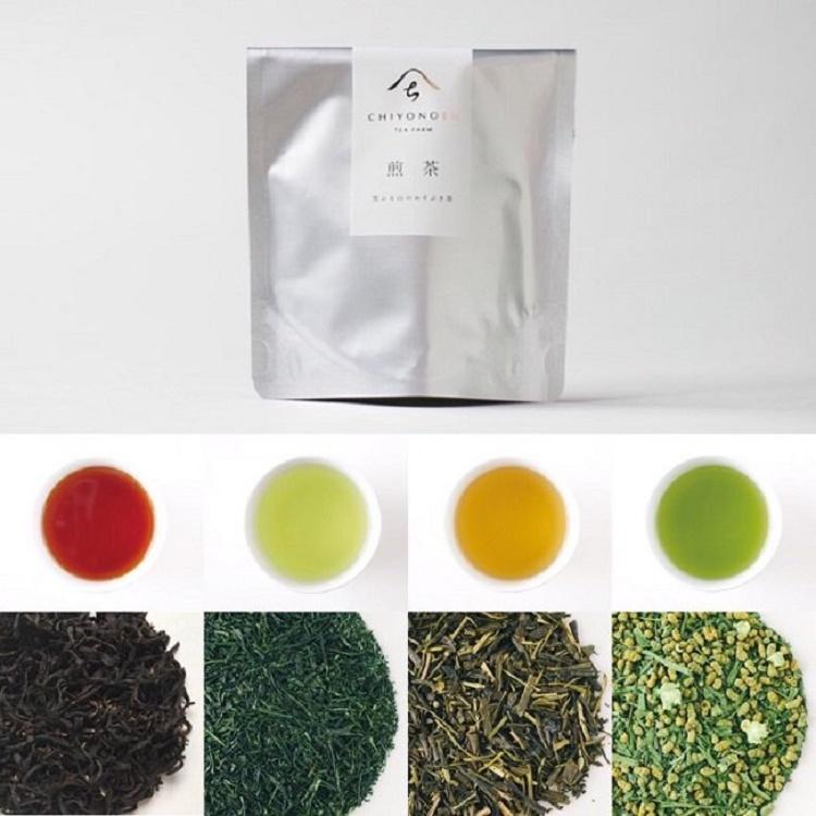 八女茶お試し4本セット(煎茶、ほうじ茶、抹茶玄米茶、矢部紅茶)「千代乃園」